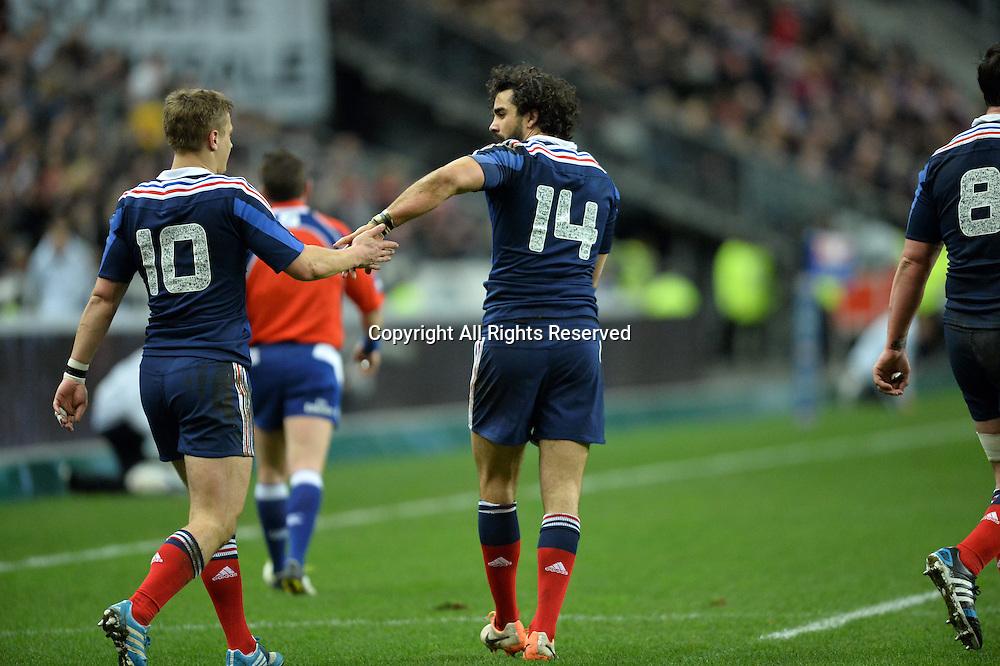 01.02.2014. Stade de France, Paris, France. 6 Nations International Rugby Union. France versus England.  Yoann Huget (fra) congratulated by Jules Plisson (fra)