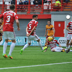 Andy Rose scores in the match between Hamilton Accies v Motherwell, Ladbrokes Premiership, The Super Seal Stadium, Saturday 14 October 2017  (c) Angie Isac | SportPix.org.uk