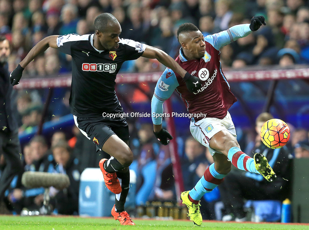 28th November 2015 - Barclays Premier League - Aston Villa v Watford -  Adama Traore of Aston Villa battles with Allan-Romeo Nyom of Watford - Photo: Paul Roberts / Offside.