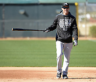 GLENDALE, ARIZONA - FEBRUARY 19: Coach Joe McEwing #47 of the Chicago White Sox looks on during spring training workouts on February 19, 2019 at Camelback Ranch in Glendale Arizona.  (Photo by Ron Vesely). Subject:   Joe McEwing