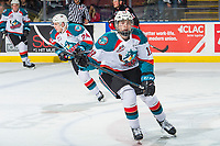 KELOWNA, CANADA - FEBRUARY 8: Steel Quiring #18 of the Kelowna Rockets skates to the bench against the Prince George Cougars  on February 8, 2019 at Prospera Place in Kelowna, British Columbia, Canada.  (Photo by Marissa Baecker/Shoot the Breeze)