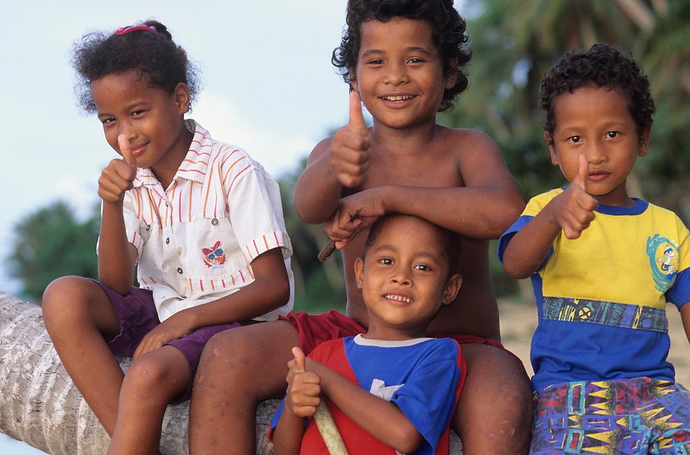 Raeng native children, Tiningdow Family, Yap, Wa`ab, Waqab, Federated States of Micronesia, islands in the Caroline Islands