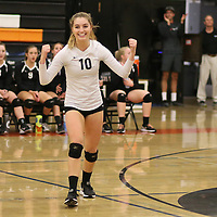 (Photograph by Bill Gerth for SVCN) Los Gatos #10 Caroline Bond celebrates as the ball goes out of bounds for a point vs Carlmont in a CCS Division 1 Semi Final Girls Volleyball Game at Los Gatos High School, Los Gatos CA on 11/9/16.  (Los Gatos defeated Carlmont 3-0, 25-21, 25-17, 25-16)