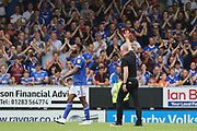 Ipswich Town manager Paul Lambert waves at the Ipswich supporters during the EFL Sky Bet League 1 match between Burton Albion and Ipswich Town at the Pirelli Stadium, Burton upon Trent, England on 3 August 2019.