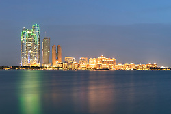 Evening skyline view of Abu Dhabi in United Arab Emirates