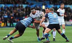Nick Williams of Cardiff Blues tackles Rob Herring of Ulster Rugby - Mandatory by-line: Nizaam Jones/JMP- 24/03/2018 - RUGBY - BT Sport Cardiff Arms Park- Cardiff, Wales - Cardiff Blues v Ulster Rugby - Guinness Pro 14