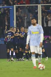 """Foto Filippo Rubin<br /> 07/10/2018 Ferrara (Italia)<br /> Sport Calcio<br /> Spal - Inter - Campionato di calcio Serie A 2018/2019 - Stadio """"Paolo Mazza""""<br /> Nella foto: GOAL INTER MAURO ICARDI (INTER)<br /> <br /> Photo Filippo Rubin<br /> October 07, 2018 Ferrara (Italy)<br /> Sport Soccer<br /> Spal vs Inter - Italian Football Championship League A 2018/2019 - """"Paolo Mazza"""" Stadium <br /> In the pic: GOAL INTER MAURO ICARDI (INTER)"""