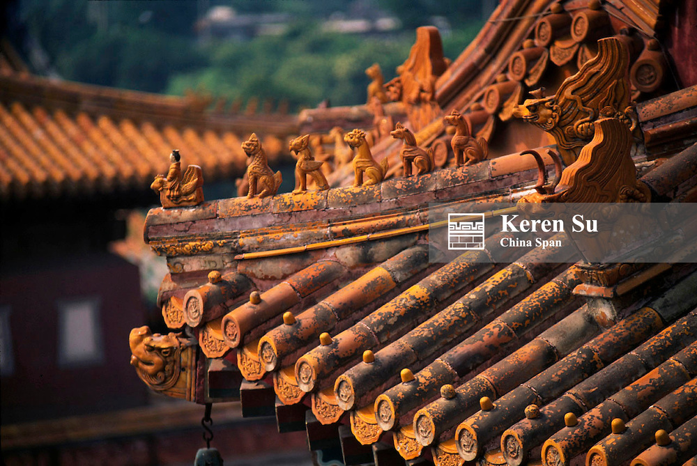 Architectural details of glazed tile roof in Imperial Summer Palace, Chengde, Hebei Province, China