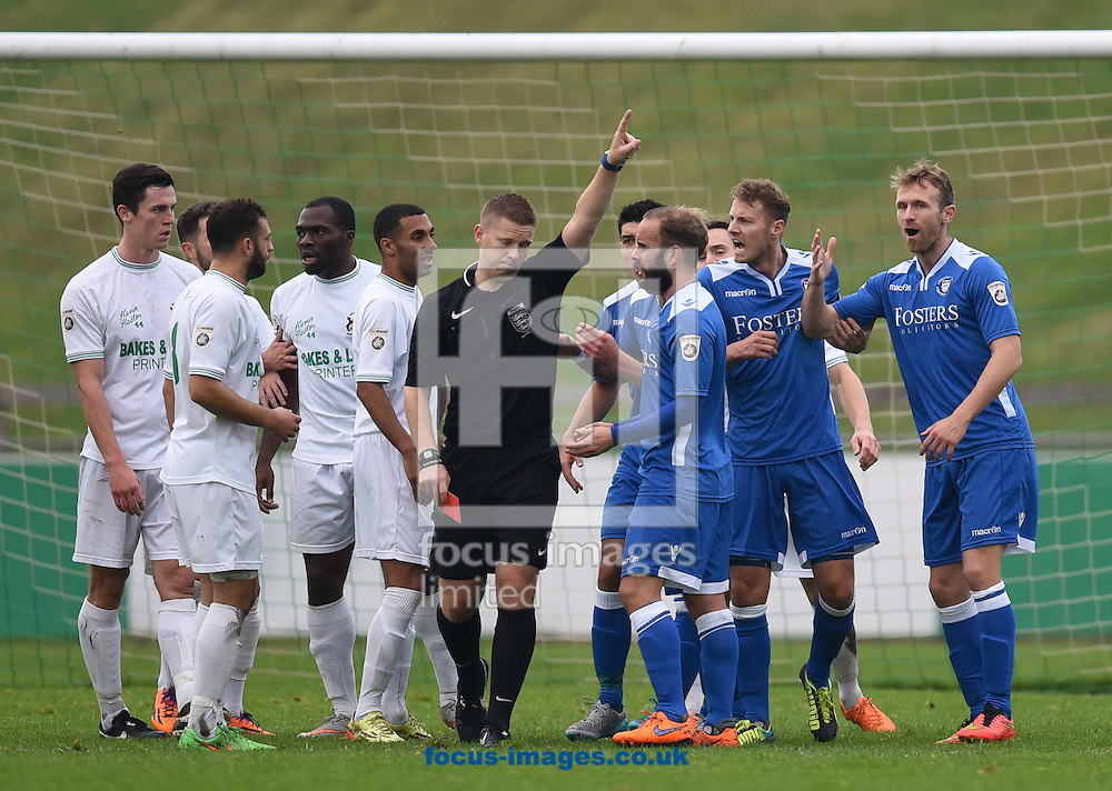 Ryan Jarvis of Lowestoft Town is sent off during the National League North match at Horsfall Stadium, Bradford<br /> Picture by Richard Land/Focus Images Ltd +44 7713 507003<br /> 31/10/2015