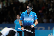 Novak Djokovic after winning the first set during the final of the ATP World Tour Finals between Roger Federer of Switzerland and Novak Djokovic at the O2 Arena, London, United Kingdom on 22 November 2015. Photo by Phil Duncan.