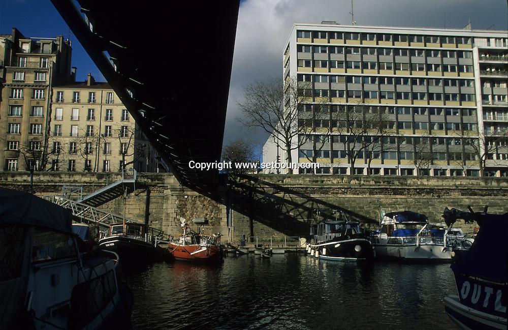 France. Paris. 4th district . Bastille, Arsenal port and canal de la Bastille