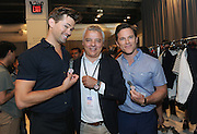 Giorgio Galli, center, Timex Global Designer, poses with actors Andrew Rannells and Mike Doyle, after the Todd Snyder Spring 2017 fashion show, which featured the new Timex Mod Watch, Thursday, July 14, 2016, at New York Fashion Week: Men's.   (Diane Bondareff/AP Images for Timex)