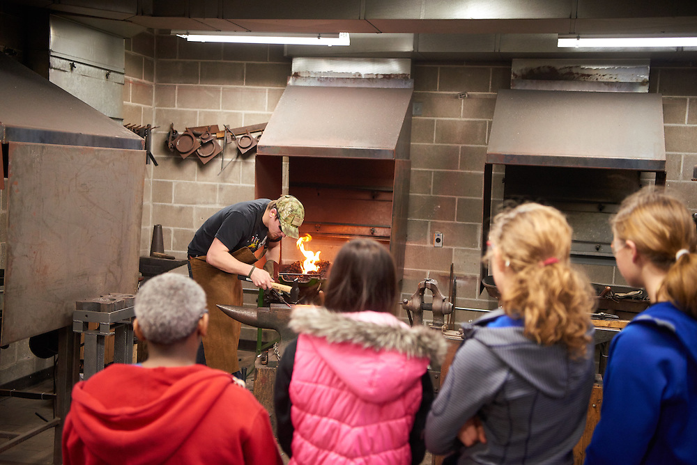 Activity; Art; Collaboration; Community Service; Buildings; Center for the Arts CFA; Location; Inside; Classroom; People; Man Men; Student Students; Woman Women; Spring; March; Type of Photography; Candid; UWL UW-L UW-La Crosse University of Wisconsin-La Crosse; Blacksmith Metalsmith Brad Nicoles