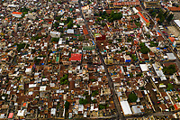 Aerial overhead of Santiago Atitlan, Guatemala - the largest of towns surrounding Lake Atitlan in the west of the Central American country.