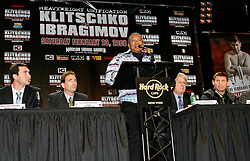 December 4, 2007; New York, NY, USA;  Seminole Indian Tribal Chairman Mitchell Cypress, speaks at the press conference announcing the February 23, 2008 unification fight between IBF/IBO Heavyweight Champion Wladimir Klitschko (l) and WBO Heavyweight Champion Sultan Ibragimov (r).  The two fighters will meet at Madison Square Garden.