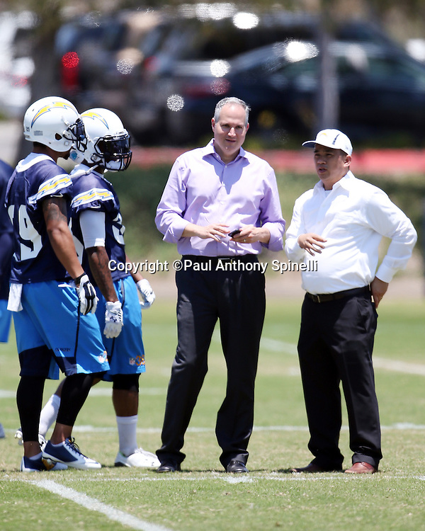 San Diego Chargers Head Team Physician Dr. Christopher Wahl looks on during the San Diego Chargers Spring 2015 NFL minicamp practice held on Tuesday, June 16, 2015 in San Diego. (©Paul Anthony Spinelli)