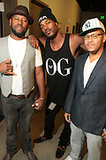 September 22, 2012- Los Angeles, CA: (L-R) Anthony Marshall, Co-founder & Producer, Lyricist Lounge, Recording Artist Mibbs of Pac Div and Danny Castro, Co-founder, Producer, Lyricist Lounge backstage at the Lyricist Lounge 20th Year Reunion Party-Los Angeles held at Club Nokia at LA Live on September 22, 2012 in Los Angeles, California. The Lyricist Lounge is a hip hop showcase of rappers, emcees, DJ's, and Graffiti artists. It was founded in 1991 by hip hop aficionados Danny Castro and Anthony Marshall. It was a series of open mic events hosted in a small studio apartment in the Lower East Side section of New York City.(Terrence Jennings)