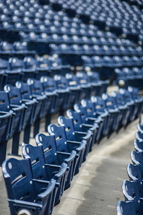 Rows of seats at Canal Park, home of the Akron RubberDucks professional baseball team.