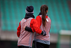 ZENICA, BOSNIA AND HERZEGOVINA - Sunday, November 26, 2017: Wales' Jessica Fishlock [L] and Natasha Harding [R] during a training session ahead of the FIFA Women's World Cup 2019 Qualifying Round Group 1 match against Bosnia and Herzegovina at the FF BH Football Training Centre. (Pic by David Rawcliffe/Propaganda)