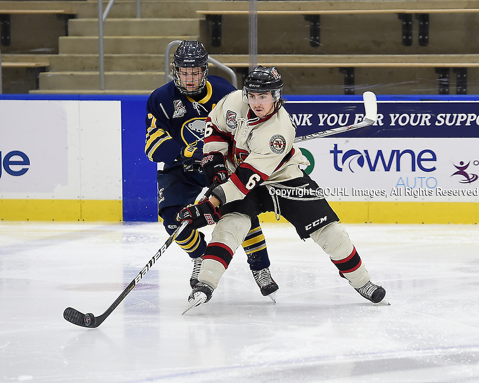 BUFFALO, ON - Sep 22, 2015 : Ontario Junior Hockey League game action between Newmarket and Buffalo at the Showcase, Curtis Harvey #6 of the Newmarket Hurricanes battles for the puck with Christopher Berger #7 of the Buffalo Junior Sabres during the third period.<br /> (Photo by Andy Corneau / OJHL Images)
