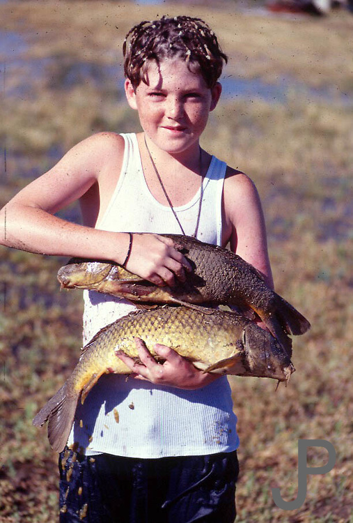 "Camron was so excited to fish.  He woke us up one morning telling us all the ""trout"" he had caught.  Ended up they were spawning crass carp."