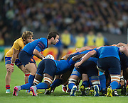 London, Great Britain, Morgan PARRA wait's for teh signal from the referee to put the ball in, during a Pool D game,  France vs Romania. 2015 Rugby World Cup. Venue. The Stadium Queen Elizabeth Olympic Park. Stratford. East London. England,, Wednesday  23/09/2015. <br /> [Mandatory Credit; Peter Spurrier/Intersport-images]