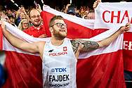 Great Britain, London - 2017 August 11: Pawel Fajdek (Agros Zamosc) of Poland celebrates with his supporters gold medal in men's hammer throw final during IAAF World Championships London 2017 Day 8 at London Stadium on August 11, 2017 in London, Great Britain.<br /> <br /> Mandatory credit:<br /> Photo by © Adam Nurkiewicz<br /> <br /> Adam Nurkiewicz declares that he has no rights to the image of people at the photographs of his authorship.<br /> <br /> Picture also available in RAW (NEF) or TIFF format on special request.<br /> <br /> Any editorial, commercial or promotional use requires written permission from the author of image.