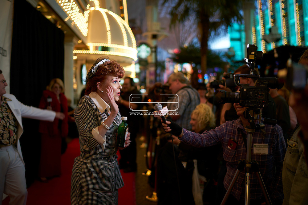 February 22, 2016. Las Vegas, Nevada.  The 22nd Reel Awards and Tribute Artist Convention in Las Vegas. Celebrity lookalikes from all over the world gathered at the Golden Nugget Hotel for the annual event. Pictured is  Lucille Ball lookalike, Mycki Manning.<br /> Copyright John Chapple / www.JohnChapple.com /