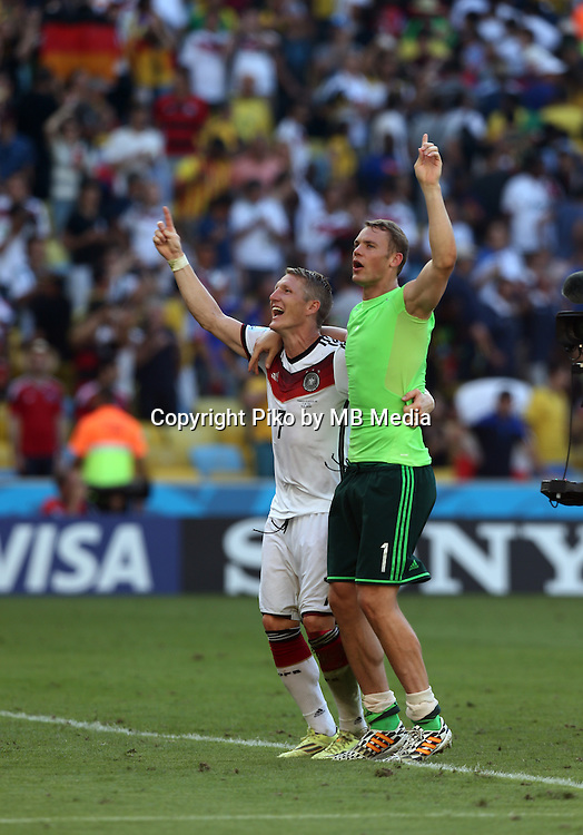 Fifa Soccer World Cup - Brazil 2014 - <br /> FRANCE (FRA) Vs. GERMANY (GER) - Quarter-finals - Estadio do Maracana Rio De Janeiro -- Brazil (BRA) - 04 July 2014 <br /> Here German players Bastian SCHWEINSTEIGER (L) and GK Manuel NEUER (R)celebrating the victory. End of the match 0-1. <br /> &copy; PikoPress
