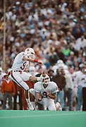 John Hopkins kicks one of five field goals during the 93rd Big Game between Cal and Stanford played on November 17, 1990 at Memorial Stadium in Berkeley, California.  Stanford won 27-25 on a last second field goal by John Hopkins.  Photograph © 1990 David Madison.