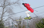 Warwick, New York - A young skier goes airborne during the Big Air competition  during the annual Spring Rally at Mount Peter Ski and Ride on March 21, 2010.