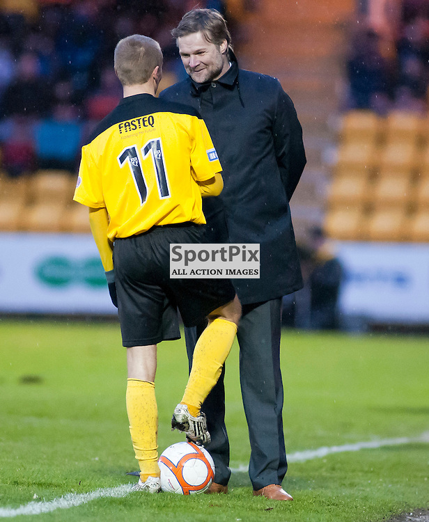 Falkirk Manager Steven Pressley shares a joke withh Bobby Barr as they wait for a substitution, Livingston v Falkirk, SFL Division 1, Braidwood Motor Company Stadium, Monday 2nd January 2012