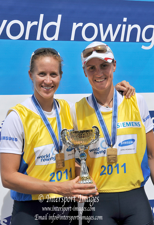 Munich, GERMANY,  Sunday finals. Gold Medalist GBR W2- bow. Helen GLOVER and Heather STANNING. FISA World Cup on the Munich Olympic Rowing Course,  Sunday  29/05/2011  [Mandatory Credit Peter Spurrier/ Intersport Images]