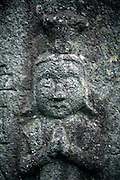 close up of the face of a stone sculpture Japan