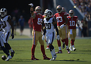 San Francisco 49ers tight end George Kittle (85) gestures after a first down against the Los Angeles Rams during an NFL football game, Sunday, Oct. 13, 2019, in Los Angeles. The 49ers defeated the Rams 20-7. (Dylan Stewart/Image of Sport)