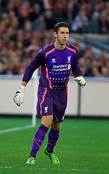 MELBOURNE, AUSTRALIA - Wednesday, July 24, 2013: Liverpool's goalkeeper Brad Jones in action against Melbourne Victory during a preseason friendly match at the Melbourne Cricket Ground. (Pic by David Rawcliffe/Propaganda)