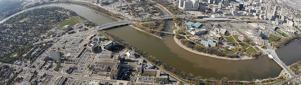 Aerial view of The Norwood Bridge, The Forks, The Assiniboine River, The Esplanade Riel and Provencher Bridge over the Red River, The Canadian Museum for Human Rights, Shaw Park, St.Boniface and downtown, October 21st, 2011. (TREVOR HAGAN/WINNIPEG FREE PRESS)