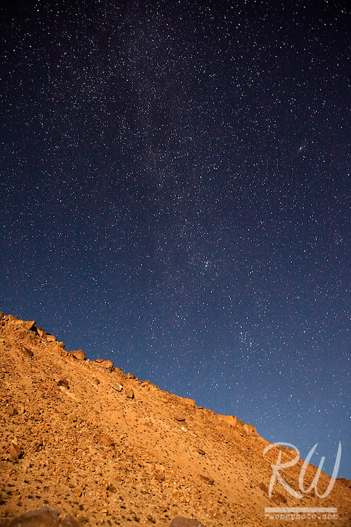 Milky Way Galaxy in Night Sky Over Chalk Bluffs, Owens Valley, California