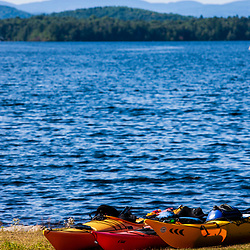 Kayaks on the shore of Umbagog Lake.  Umbagog Lake State Park, Cambridge, New Hampshire.