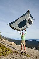 Woman camping near Lake Tahoe, CA