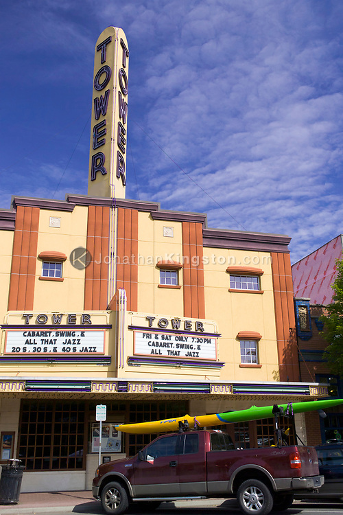 A low angle view of the Tower Theater in downtown Bend, Oregon.