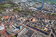 Nederland, Groningen, Gemeente Oldambt,  01-05-2013; centrum Winschoten met links winkelcentrum 't Rond aan Vissersdijk en Israelplein, recht Marktplein met Grote Kerk (Marktpleinkerk), de toren 'Olle Witte'.<br /> Small provincial town, regional centre Small provincial town, marketplace, regional centre (northeast Holland).<br /> luchtfoto (toeslag op standard tarieven);<br /> aerial photo (additional fee required);<br /> copyright foto/photo Siebe Swart.