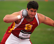 Jun 23, 2007; Indianapolis, IN, USA; Noah Bryant of Southern California places fourth in the shot put at 66-1 (20.14m) in the USA Track & Field Championships at Carroll Stadium.