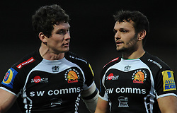 Exeter Chiefs Ian Whitten and Exeter Chiefs Phil Dolman  - Photo mandatory by-line: Harry Trump/JMP - Mobile: 07966 386802 - 14/02/15 - SPORT - Rugby - Aviva Premiership - Sandy Park, Exeter, England - Exeter Chiefs v Newcastle Falcons