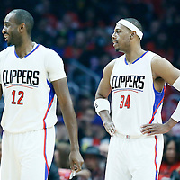 23 December 2016: LA Clippers forward Luc Mbah a Moute (12) and LA Clippers forward Paul Pierce (34) are seen during the Dallas Mavericks 90-88 victory over the LA Clippers, at the Staples Center, Los Angeles, California, USA.