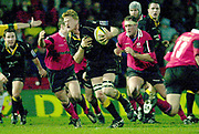 Photo - Peter Spurrier.13/01/2003.Parker Pen Shield European Rugby - Saracens v Newcastle.Falcon's No.8 Hugh Vyvyan breaks with the ball.