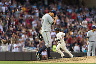 Marco Estrada #41 of the Milwaukee Brewers hangs his head as Aaron Hicks #32 of the Minnesota Twins rounds the bases after hitting a home run on May 29, 2013 at Target Field in Minneapolis, Minnesota.  The Twins defeated the Brewers 4 to 1.  Photo: Ben Krause