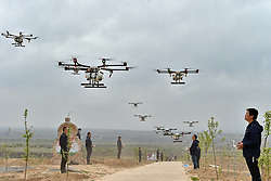 April 25, 2017 - Jixian, China -  People fly drones to spray pesticide in Jixian County, north China's Shanxi Province. Over 50,000 mu (3,333 hectares) of apple trees will be sprayed pesticide with drones this year. (Credit Image: © Cao Yang/Xinhua via ZUMA Wire)