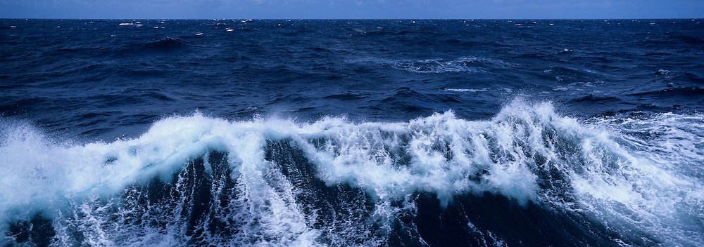USA, Breaking waves in stormy seas of North Pacific Ocean ~200 miles west of the Washington Coast in late summer