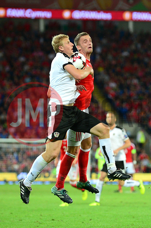 Andy King of Wales challenges for a header - Mandatory by-line: Dougie Allward/JMP - 02/09/2017 - FOOTBALL - Cardiff City Stadium - Cardiff, Wales - Wales v Austria - FIFA World Cup Qualifier 2018